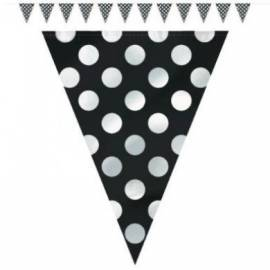 Midnight Black dots flag banner