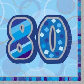 80th Blue Glitz Napkins