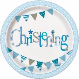 Blue Christening Plates - 8PK