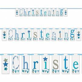 Blue Christening Block Banner