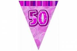 Pink 50th Flag Banner