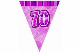 70th Pink flag banner