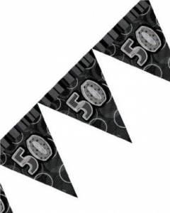 black/silver 50th flag banner
