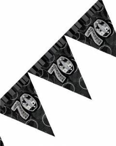 black/silver 70th flag banner