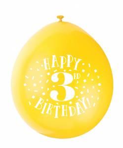 3rd Birthday Balloons - 10PK