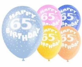 Age 65 Assorted Helium Balloons