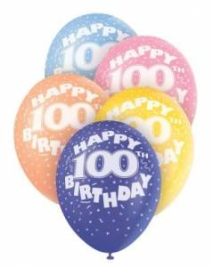 Age 100 Assorted Helium Balloons
