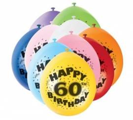 Age 60 Assorted Airfill Balloons