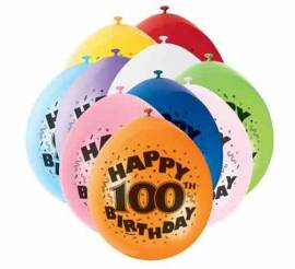 Age 100 Assorted Airfill Balloons