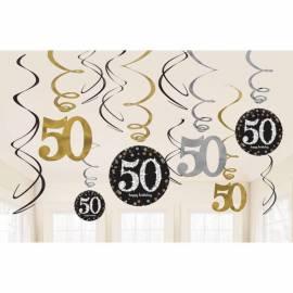50th Black/Silver hanging swirls