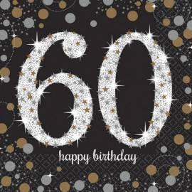 60th Sparkling Celebration Napkins - 16PK