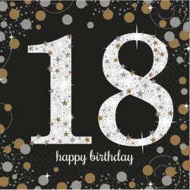 18th Sparkling Celebration Napkins - 16PK