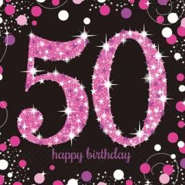 Pink Celebration 50th Napkins