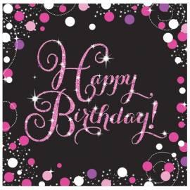 Happy Birthday Pink Celebration Napkins