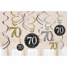 70th Black/Silver Hanging Swirls