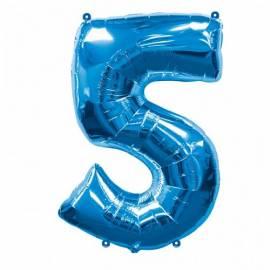 Blue Number 5 Foil Balloon