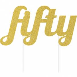 Fifty Gold Cake Topper