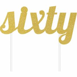 Sixty Gold Cake Topper