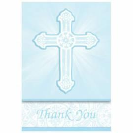 Radiant Cross Blue Thankyou Cards