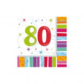 Radiant Birthday age 80 Napkins