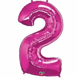 Magenta Number 2 Foil Balloon
