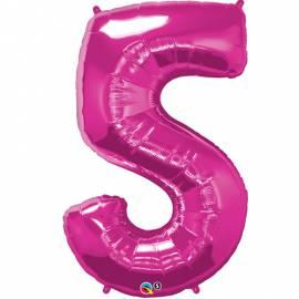Magenta Number 5 Foil Balloon