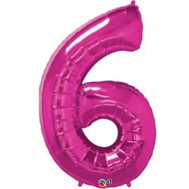 Magenta Number 6 Foil Balloon