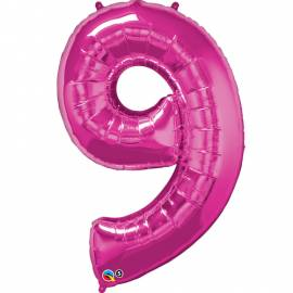 Magenta Number 9 Foil Balloon