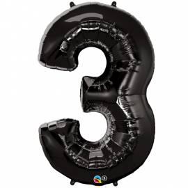 Black Number 3 Foil Balloon