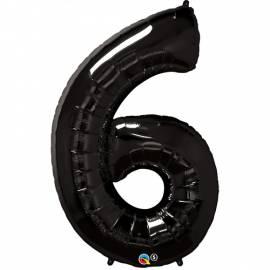 Black Number 6 Foil Balloon