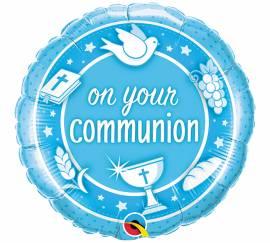 Blue On your communion Foil Balloon