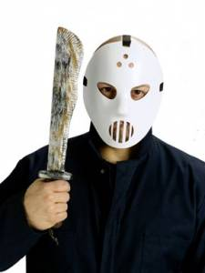 Hockey mask and machete