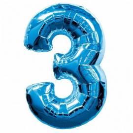 Blue Number 3 Foil Balloon