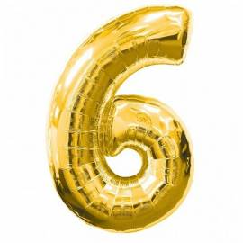 Gold Number 6 Foil Balloon