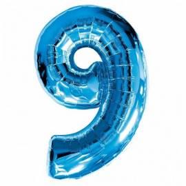 Blue Number 9 Foil Balloon