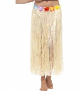Hula skirt with Flowers Natural