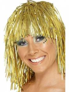 Cyber Gold Tinsel Wig