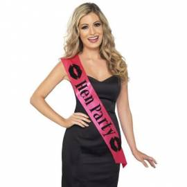 Hen Party Sash pink with black