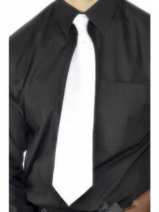 White Dlx Gangster Tie