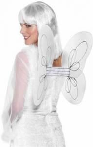 White Angel Wings Silver Glittr