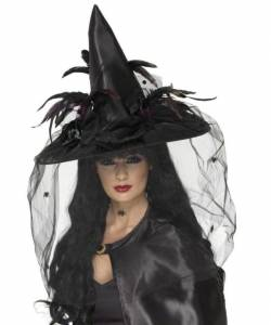 Deluxe Witch Hat With Feathers