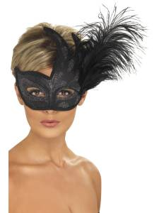 Ornate Black Feather Mask