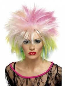 80s cute wig/blonde/w/pink&gree