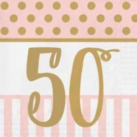 Pink Chic 50th Napkins - 20Pk