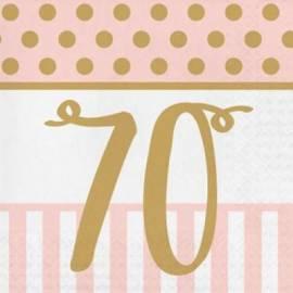 Pink Chic 70th Napkins - 20Pk