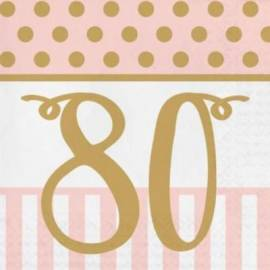 Pink Chic 80th Napkins - 20Pk