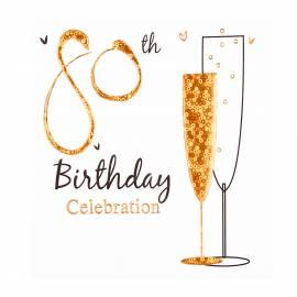 80th Gold Birthday Invites - 6Pk