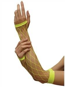Yellow Fishnet Gloves