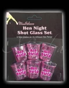 6 Hen Night Shot Glasses