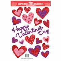 Valentine Glitter Window Decorations